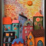 Gündüz şehir ve apartmanlar, strafor tablo